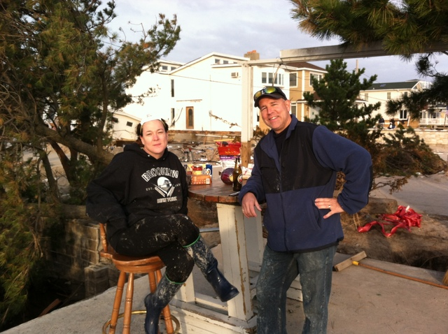 <p>Tara and Michael Endall, at the former site of the Sugar Bowl bar in Breezy Point, which they frequented for many summers before Super Storm Sandy hit.</p>