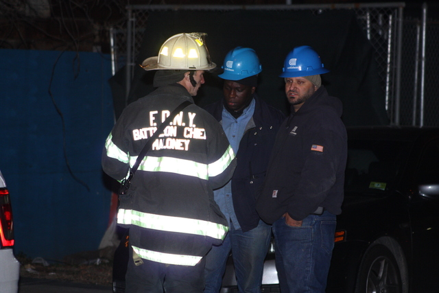 <p>Firefighters on the scene of the electrical explosion at 55-30 46th St. in Queens Nov. 26, 2012.</p>