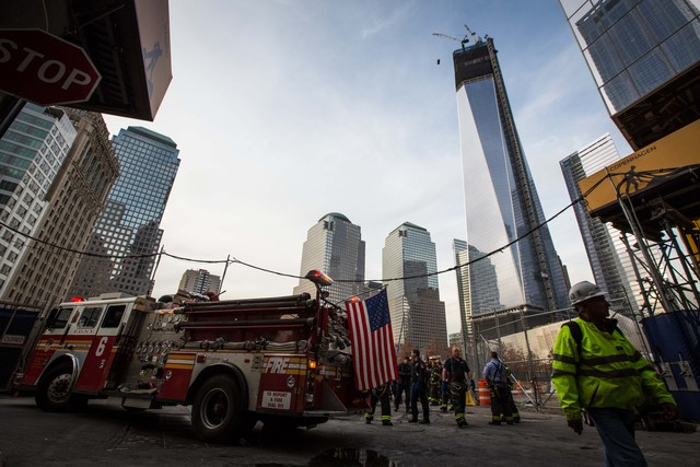 <p>A small fire broke out at the future Vehicle Security Center at the World Trade Center site Nov. 20, 2012.</p>