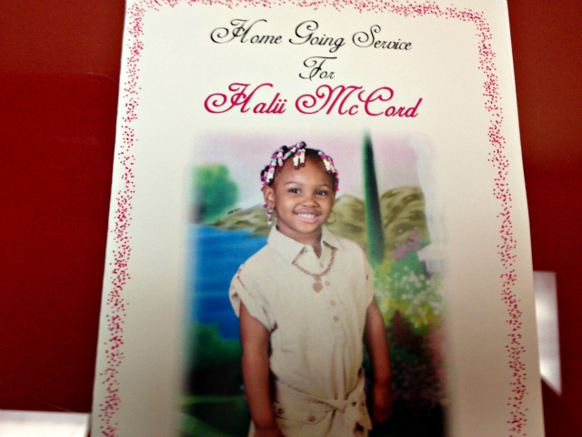 <p>The program passed out at the funeral for 4-year-old Halii McCord refers to the funeral as a &quot;home going service.&quot;</p>