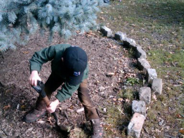 <p>A volunteer with North Brooklyn Compost Project tended to the Geraldo Tree one past year. The giant white spruce fell in Hurricane Sandy.</p>