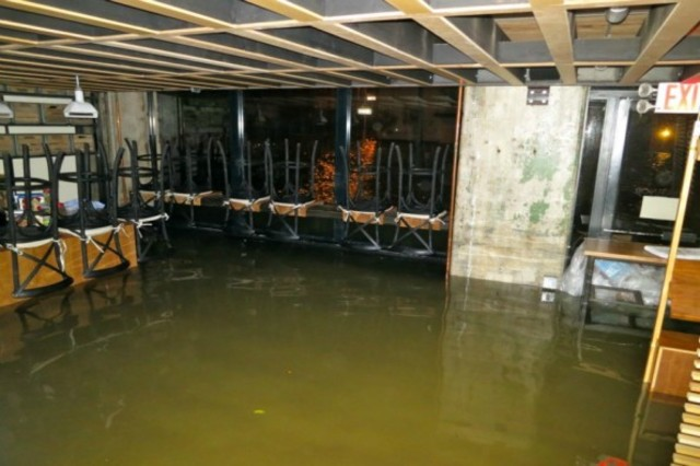 <p>During the storm, when 4-foot surges of floodwater hit the waterfront in DUMBO, the restaurant&rsquo;s flooring, equipment, and food and drink inventory were wiped out.</p>