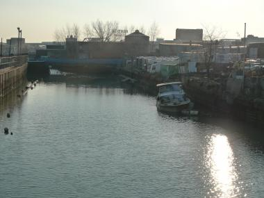 The Gowanus Canal seen from the Union Street bridge. The canal has been described by the EPA as one of the nation's most extensively contaminated bodies of water.