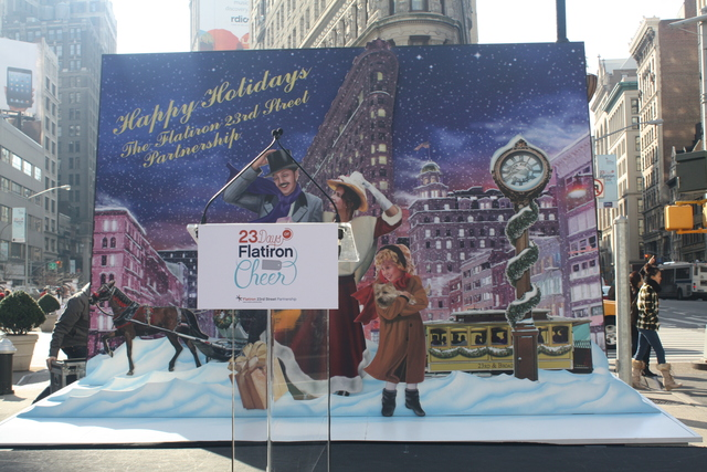 <p>The large, multidimensional greeting card now on display at Flatiron Plaza.</p>