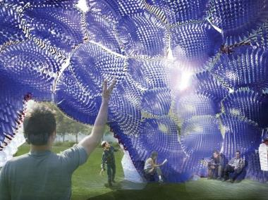 "FIGMENT announced the winner of its third annual City of Dreams Pavilion Competition last week: ""Head in the Clouds,"" constructed from over 50 thousand recycled water bottles and milk jugs."