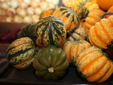 A a seasonal display of carnival squash from California at TriBeCa's Whole Foods.