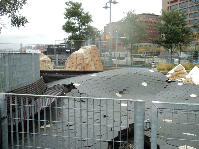 <p>The playground on Pier 25 in TriBeCa suffered serious damage because of Hurricane Sandy.</p>