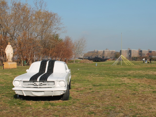 <p>Socrates Sculpture Park, which is situated directly on the East River waterfront, was completely under water.</p>