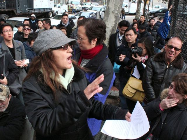 <p>Tenant organizer Isabel Reyna-Torres addresses a meeting of Knickerbocker Village residents who are fed-up over not having heat, power or running water. Her statements were translated into Cantonese and Mandarin for the many Chinese residents that live at the complex.</p>