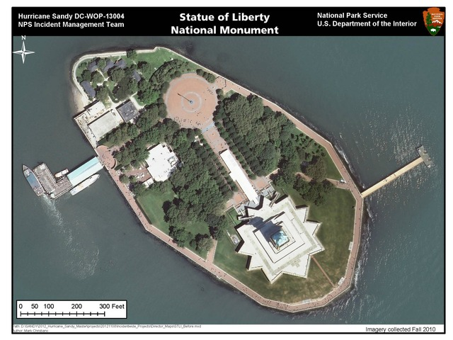 <p>Liberty Island before the storm.</p>