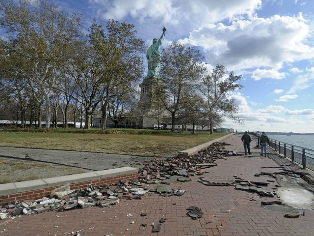 <p>Bricks along Liberty Island&#39;s walkways were uprooted during the Sandy.</p>