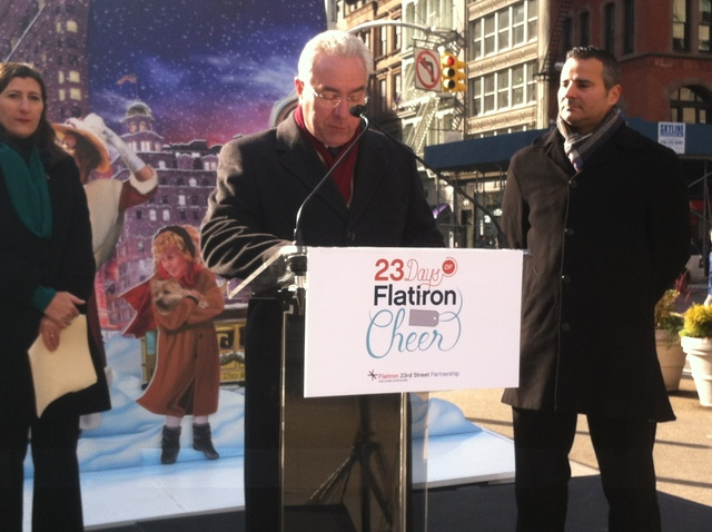 <p>Local merchant and contributing sponsor Farrell Vega at the &quot;23 Days of Flatiron Cheer&quot; kickoff event on Nov. 29, 2012.</p>