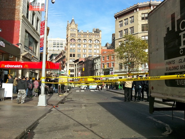 <p>A man was struck by a truck and critically injured in Union Square on Nov. 20, 2012.</p>