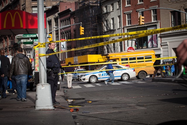 <p>A man riding a skateboard was struck and critically injured by a delivery truck near Union Square Tuesday afternoon, Nov. 20, 2012.</p>