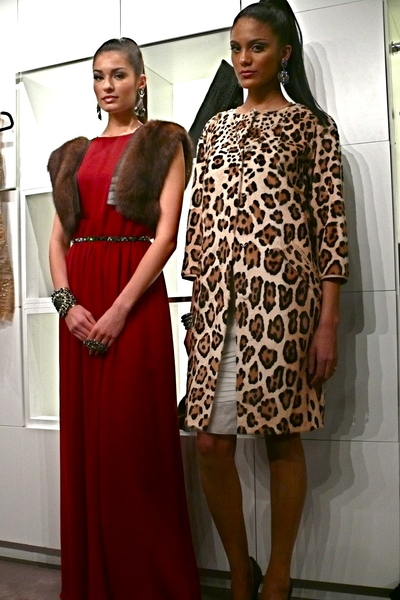 <p>Silk chiffon and organza dresses with sable and printed Leopard vest.</p>