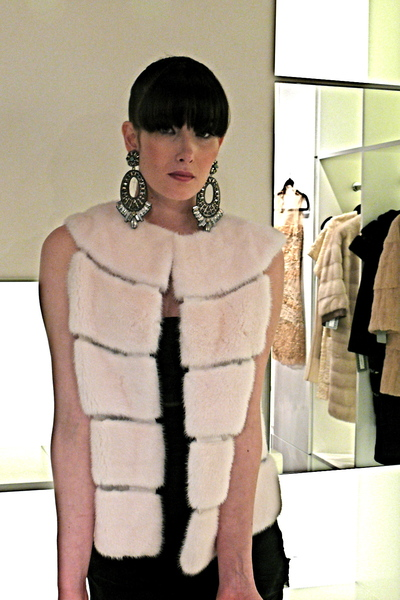<p>White mink vest with silk organza panels.</p>