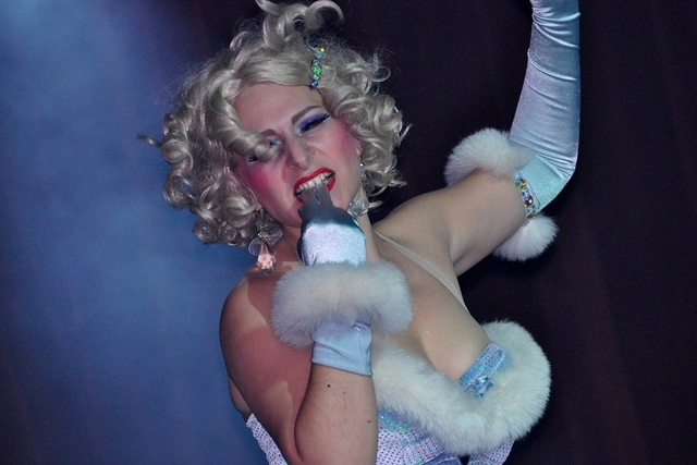 <p>Schlep Sister Minnie Tonka performs in the Menorah Horah, a Channukah-themed burlesque show.</p>
