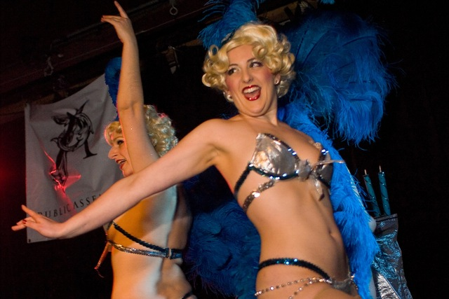 <p>The Schlep Sisters created the Menorah Horah, a Channukah-themed burlesque show.</p>
