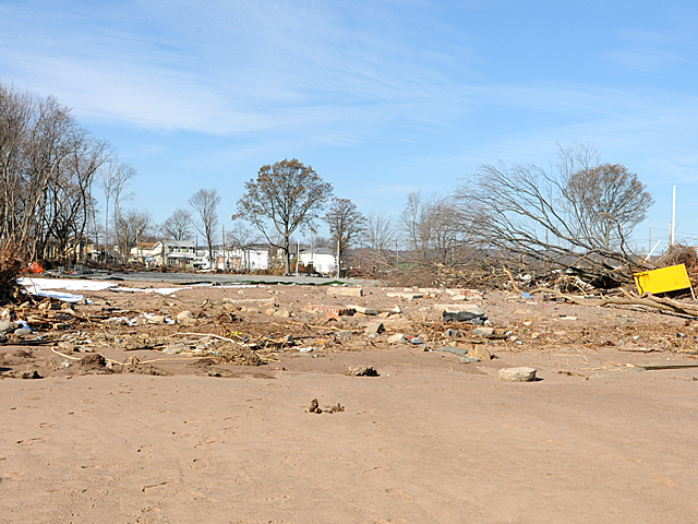 <p>New Dorp, Staten Island residents said beach erosion and a lack of a storm wall helped water rush into the neighborhood during Hurricane Sandy, Nov. 9, 2012.</p>
