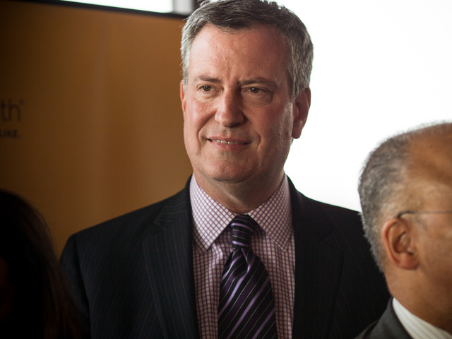 <p>New York City Public Advocate Bill de Blasio, 51, at La Marina restaurant in Inwood for a Thanksgiving dinner for local seniors on Nov. 20, 2012.</p>