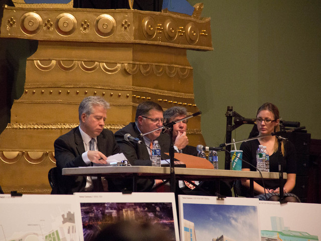 <p>Developers for the New York Wheel and Harbor Commons gave presentations to the crowd at Snug Harbor Cultural Center&#39;s Music Hall at the first public meeting on the project, Nov. 13, 2012.</p>