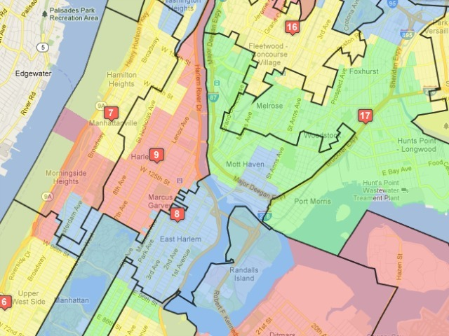 <p>Under the proposed plan, half of Melissa Mark-Viverito&#39;s 8th district would be in The Bronx. The colored blocks represent the old districts; the black lines show the proposed new bounds.</p>
