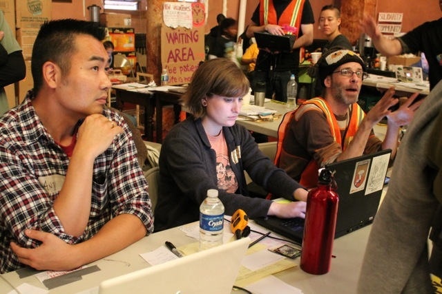 <p>November 12, 2012 - Volunteers organize drivers at the Driver Dispatch Center.</p>
