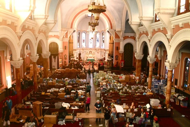 <p>November 12, 2012 -The Church of St. Luke and St. Matthew is full of donations made through Occupy Sandy&#39;s wedding registry on Amazon.</p>