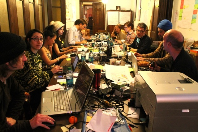 <p>November 12, 2012 - The communication center of Occupy Sandy stays in touch with people &#39;in the field&#39; and in the &#39;hubs.&quot;</p>