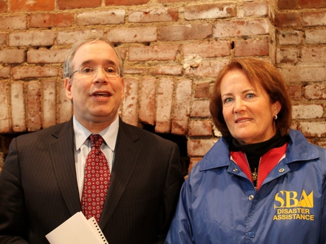 <p>U.S. Small Business Administration head Karen Mills with Manhattan Borough President Scott Stringer at Pasanella and Son Vinters in the South Street Seaport. Elected officials toured the Seaport on Monday, Nov. 20, to survey the damage from Hurricane Sandy.</p>