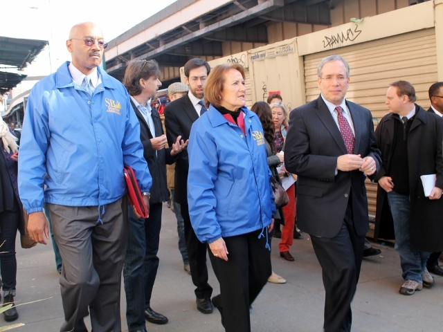 <p>U.S. Small Business Administration head Karen Mills with Manhattan Borough President Scott Stringer as they toured the South Street Seaport on Monday, Nov. 20, to survey the damage from Hurricane Sandy.</p>