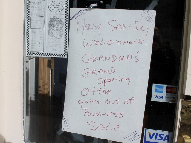 <p>A sign outside of Grandma&#39;s House restaurant on Peck Slip. The eatery was open for just three months when it was wiped out by floods during Hurricane Sandy.</p>