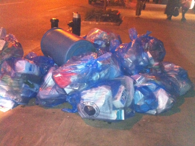 <p>Recycling bags piled up along Broadway this week.&nbsp;</p>