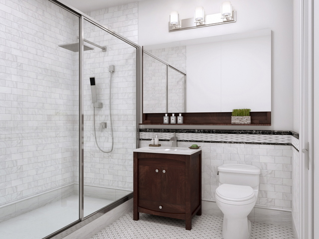 <p>A bathroom at Park Union, one of the few new residential developments in Park Slope. The 7-story building has 11 three-bedroom apartments.</p>