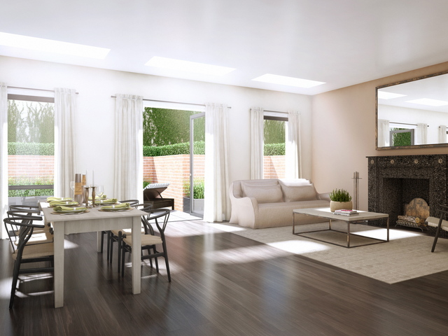 <p>A living room at Park Union, a new condo development on Union Street in Park Slope. Many of the apartments have outdoor space.</p>