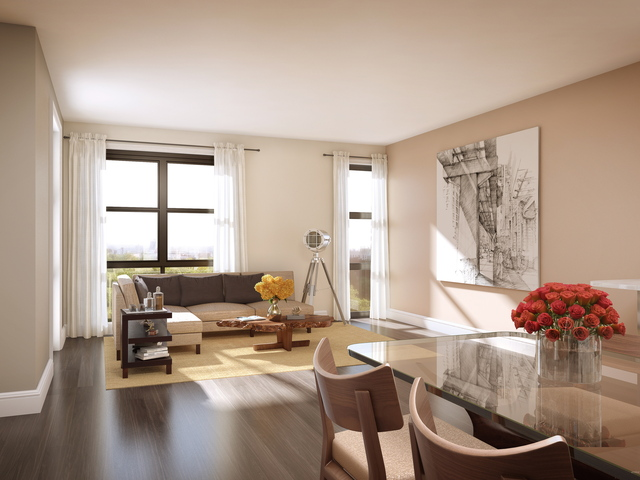 <p>A living room at Park Union, a new condo building that recently launched sales in Park Slope.</p>