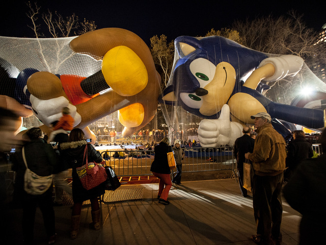 <p>People of all ages enjoy the Macy&#39;s Day balloons being inflated on Nov. 21st, 2012.</p>