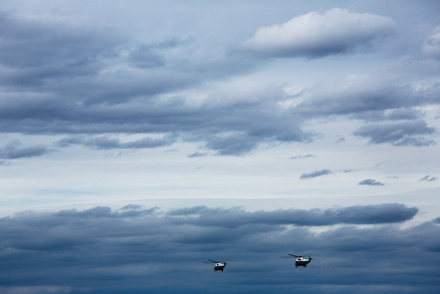 <p>Marine One, carrying President Barack Obama and New Jersey Gov. Chris Christie, and a second helicopter, Nighthawk Two, fly over Hurricane Sandy storm damage near Atlantic City, N.J., Oct. 31, 2012.</p>