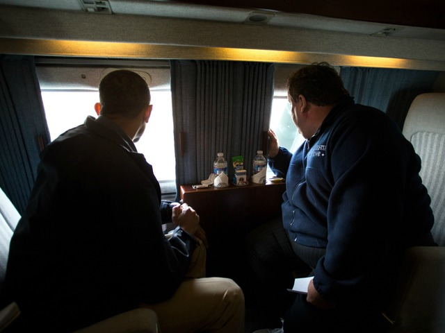 <p>President Barack Obama and New Jersey Gov. Chris Christie look at Hurricane Sandy storm damage along the coast of New Jersey on Marine One, Oct. 31, 2012.</p>