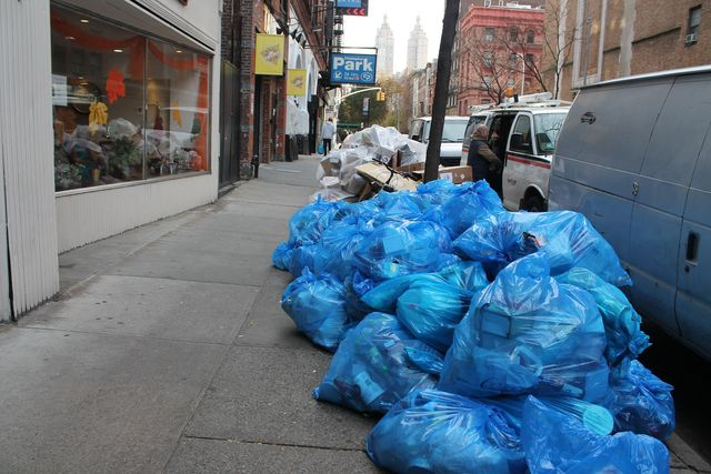 <p>Recycling bags have been piling up on the Upper West Side.</p>