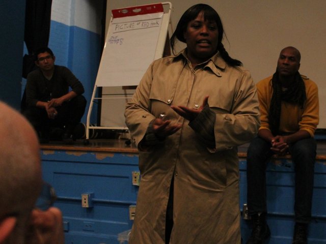 <p>Thousands of Red Hook Houses residents are still without heat or hot water, including the woman pictured here. &#39;There&rsquo;s still much more that we have to achieve,&#39; she told attendees of the Red Hook community meeting Wednesday night, Nov. 14, 2012.</p>
