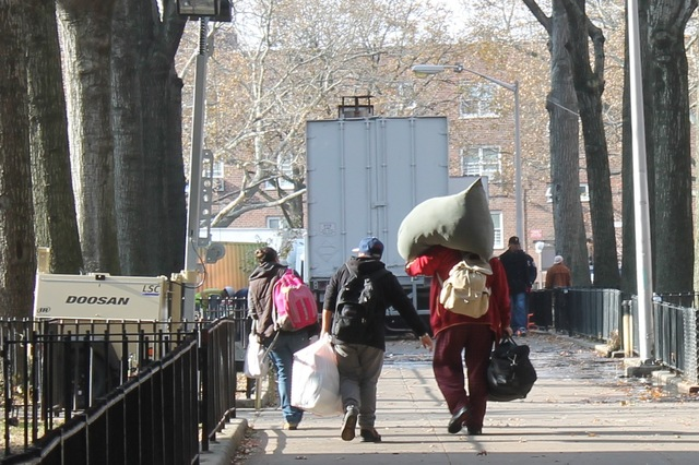 <p>Red Hook Houses residents who evacuated ahead or in the wake of Hurricane Sandy returned to their homes as power was restored Monday, Nov. 12, 2012.</p>