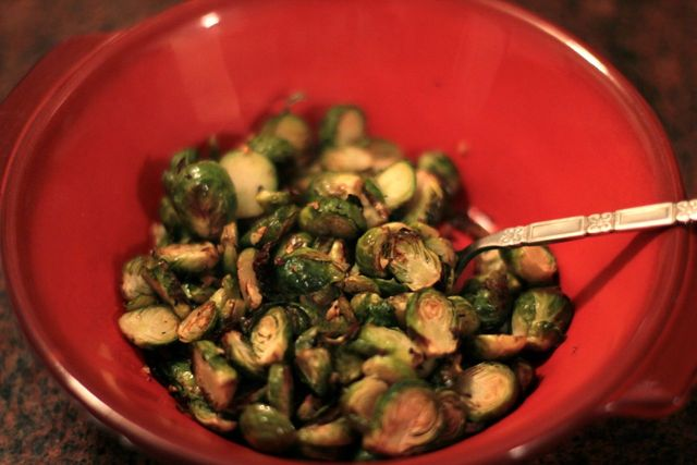 <p>The roasted Brussels sprouts are combined with a splash of balsamic vinegar and sliced figs for sweetness.</p>