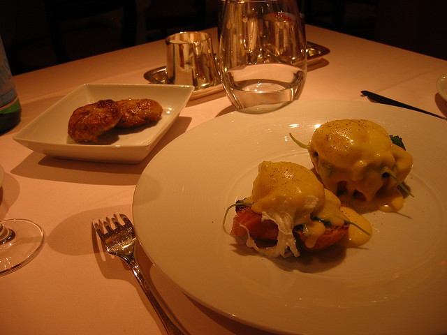 <p>Sausage and eggs at the Russian Tea Room.</p>