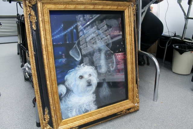 <p>This painting of owner Amanda Byron Zink&#39;s dogs was the only art that remained on the walls of her shop, The Salty Paw, after it was flooded by Hurricane Sandy.</p>
