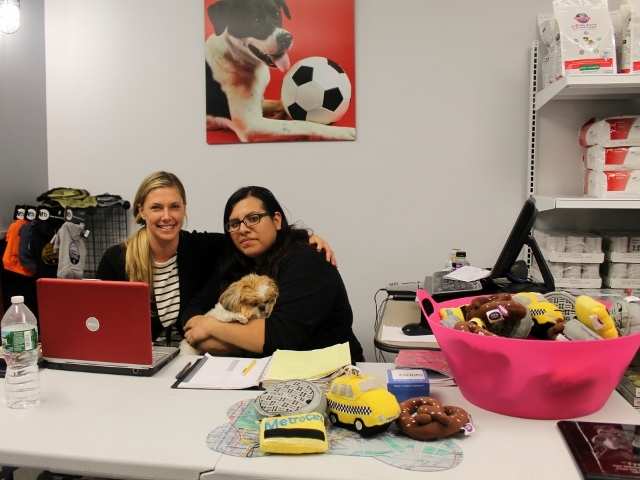 <p>The Salty Paw owner Amanda Byron Zink, manager Janet Carhuayano and pup Sophie at the store&#39;s temporary location at the Seaport Animal Hospital.</p>