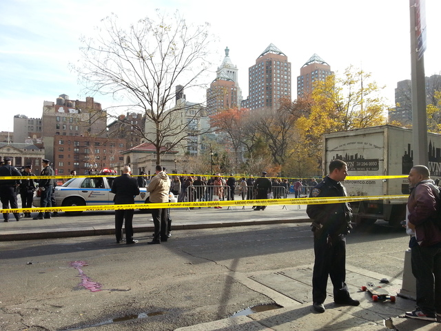 <p>A man riding a skateboard was struck by a truck and critically injured on Broadway near Union Square Tuesday afternoon, Nov. 20, 2012.</p>