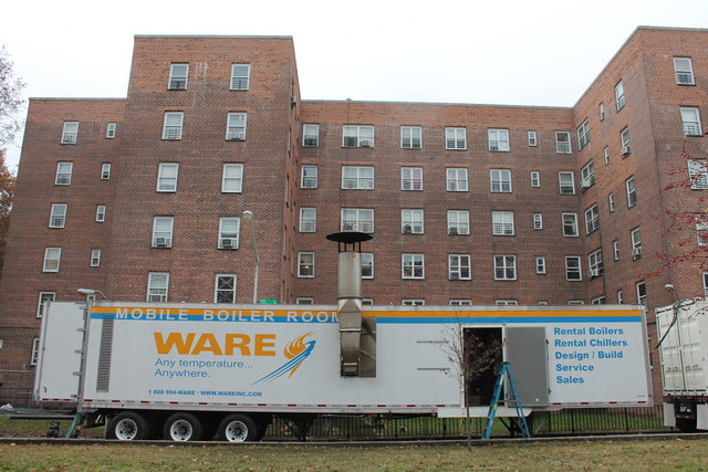 <p>Trailer-mounted boilers and generators supplied heat and hot water to portions of the Red Hook Houses Tuesday, Nov. 13, 2012. More than a quarter of the project&#39;s 8,000-plus residents remained without power, however, and over half did not have heat and hot water.</p>