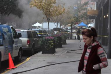 Manholes exploded on Greenwich Street, near Reade Street on Nov. 10, 2012.
