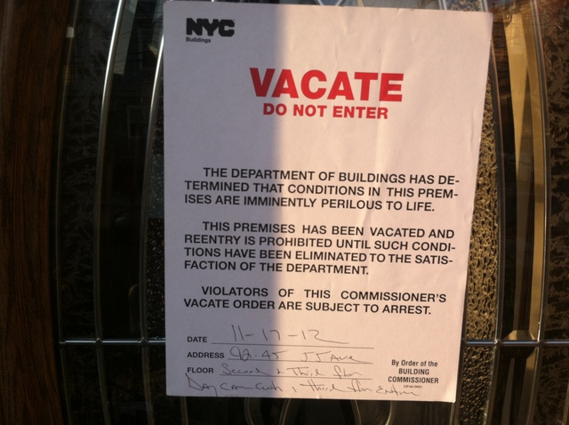 <p>The DOB issued a vacate notice to a Queens home after an infant died on Nov. 17, 2012.</p>